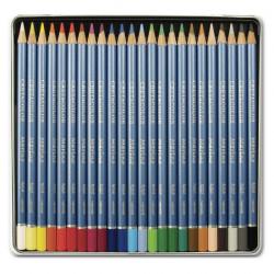 Cretacolor - Marino - Crayons de Couleur Aquarellables - 24 Couleurs - Étui Métal