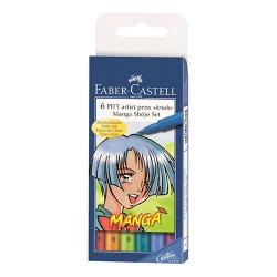 "Faber-Castell - 6 PITT® Artist Pens ""Brush"" - Manga Shôjo Set - 6 Pièces - Pointe Pinceau"
