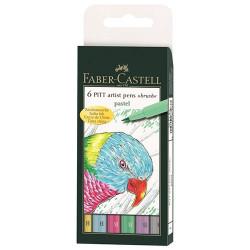 """Faber-Castell - 6 PITT® Artist Pens """"Brush"""" - Pastel - 6 Pièces - Pointe Pinceau"""