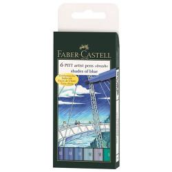 """Faber-Castell - 6 PITT® Artist Pens """"Brush"""" - Nuances de Bleu - 6 Pièces - Pointe Pinceau"""