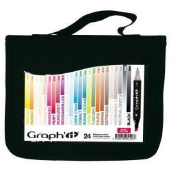 Graph'IT Marker - 24 Marqueurs à Alcool Double Pointe - BASIC COLORS - 24 Couleurs Indispensables