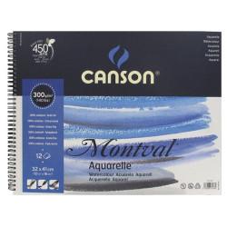 Canson® - Montval® - Papier Aquarelle - Bloc de 12 Feuilles - Avec Spirales - 300 g/m² - 32 x 41 cm