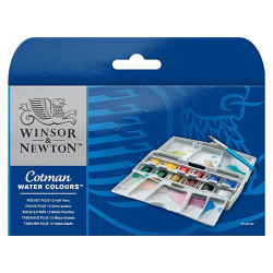 Winsor & Newton - Aquarelle Cotman - POCKET PLUS - 12 Demi-Godets