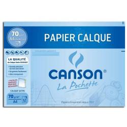 Canson® - Papier Calque Satin - Pochette de 12 Feuilles - Format A4 - 70 g/m²