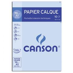 Canson® - Papier Calque Satin - Pochette de 10 Feuilles - Format A3 - 70 g/m²