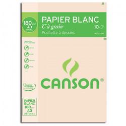 """Canson® - """"C"""" à Grain® (CAG) - Pochette de 10 Feuilles - 180 g/m² - Format A3"""