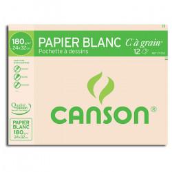 """Canson® - """"C"""" à Grain® (CAG) - Pochette de 12 Feuilles - 180 g/m² - 24 x 32 cm"""