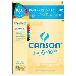 Canson® - Mi-Teintes® VIVES - Pochette de 8 Feuilles - 160 g/m² - Format A3