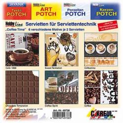 C.KREUL - Set de 12 Serviettes - 'Coffee Time' - 6 Motifs (2 de Chaque)