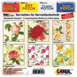 C.KREUL - Set de 12 Serviettes - 'Romantic Flowers' - 6 Motifs (2 de Chaque)