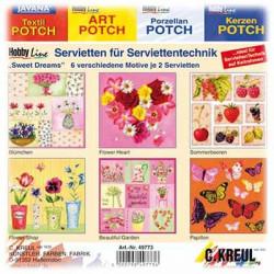 C.KREUL - Set de 12 Serviettes - 'Sweet Dreams' - 6 Motifs (2 de Chaque)