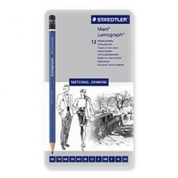 STAEDTLER - Mars® Lumograph® - Crayons Haut de Gamme - Boîte Métal de 12 Graduations Tendres