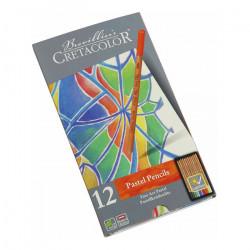 Cretacolor - Crayons Fine Art Pastel - Assortiment de 12 Couleurs - Étui Métal