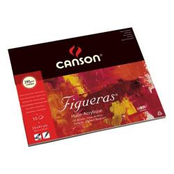Canson® - Figueras® - Papier pour Huile & Acrylique - Grain Toilé - Bloc de 10 Feuilles - C1C - 33 x 41 cm - 290 g/m²