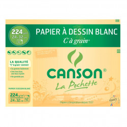"Canson® - ""C"" à Grain® (CAG) - Folder of 12 Sheets - 224 gsm - 24 x 32 cm"