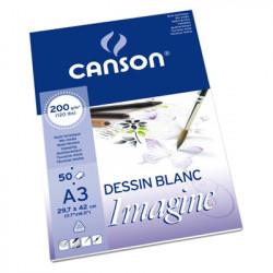 Canson® - Imagine - Papier Mix Media - Bloc de 50 Feuilles - 200 g/m² - Format A3