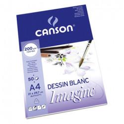 Canson® - Imagine - Papier Mix Media - Bloc de 50 Feuilles - 200 g/m² - Format A4