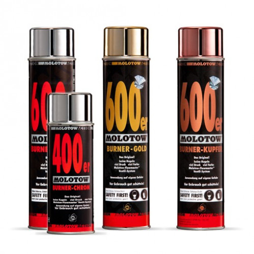 molotow burner 600ml bombe de peinture chrome or ou cuivre. Black Bedroom Furniture Sets. Home Design Ideas