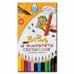 Cretacolor - BIBA - Crayons de Couleur à Mine Épaisse - Aquarellables - 12 Crayons - Étui Métal