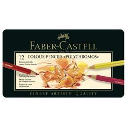 Faber-Castell - POLYCHROMOS® Artist Color Pencils - Boîte Métal - 12 Couleurs