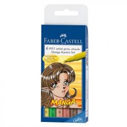 "Faber-Castell - 6 PITT® Artist Pens ""Brush"" - Manga Kaoiro Set - 6 Pièces - Pointe Pinceau"