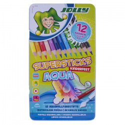 JOLLY - Supersticks Aqua - Coloured Pencils - 12 Pencils in Metal Box