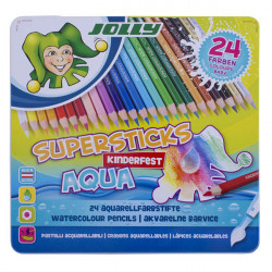 JOLLY - Supersticks Aqua - Coloured Pencils - 24 Pencils in Metal Box