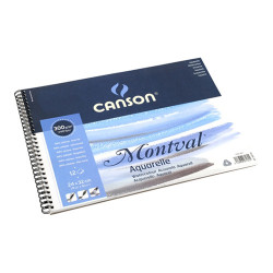 Canson® - Montval® - Watercolour Paper - Pad of 12 Sheets - With Spirals - 300 gsm - 32 x 41 cm