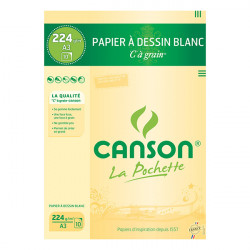 "Canson® - ""C"" à Grain® (CAG) - Folder of 10 Sheets - 224 gsm - A3 Size"