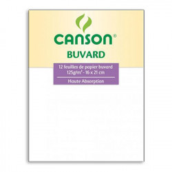 Canson® - Blotting Paper - Light Grain - Pack of 12 Sheets - 16 x 21cm - 125 gsm