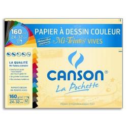 Canson® - Mi-Teintes® VIVES - Folder of 12 Sheets - 160 gsm - 24 x 32 cm