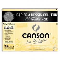 Canson® - Mi-Teintes® NOIR (BLACK) - Folder of 12 Sheets - 160 gsm - 24 x 32 cm