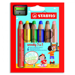 STABILO - Woody 3in1 - Pack of 6 + 1 XXL Sharpener