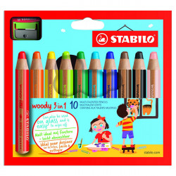 STABILO - Woody 3in1 - Pack of 10 + 1 XXL Sharpener