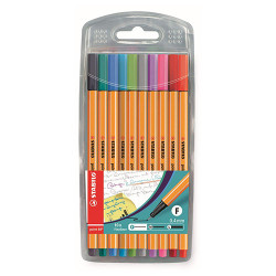 Feutres Fins POINT 88 (10) [STABILO - 0.4mm - Etui Chevalet - Coloris Fun]
