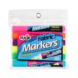 TULIP - Fabric Markers - Bullet Tip - Neon Pack - Set of 6