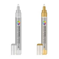 Montana Colors - MTN Water Based - Paint Marker - Tip 3mm - Gold or Silver