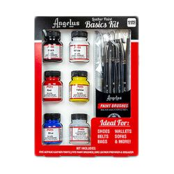 Peinture Cuir Angelus 6x1OZ - BASIC KIT + 5 Brushes
