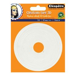 Cléopâtre - Ruban Double-Face Mousse - 10mm x 2mm x 5M - Cléofoam