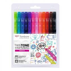 Tombow - TwinTone - Set de 12 - Couleurs Primaires
