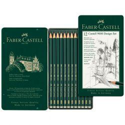 Faber-Castell - Set de 12 Crayons Graphite Castell 9000 - Set 'Design'
