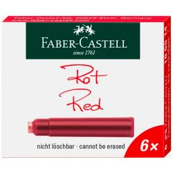 Faber-Castell - Lot de 6 Cartouches d'Encre - Standard - Rouge