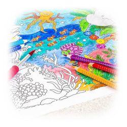 Faber-Castell - Rouleau de Coloriage - Modèle 1 Banner roll Jungle & sea world, self-adhesive